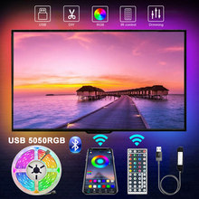 1m2m3m5m bluetooth usb led strip light 5050smd dc5v flexível não impermeável led tv backlight para casa cozinha sala de estar festa