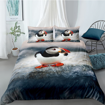 Peaguin Bedding Set Queen Size Ice Lifelike Fashionable Cute 3D Duvet Cover King Twin Full Single Double Unique Design Bed Set
