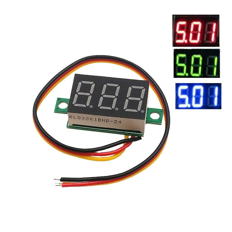 1pcs 0.36 Two-wire DC 2.50 To 30V LCD Digital Voltmeter Voltimetro Red/Blue/Green LED Amp Volt Meter Gauge Voltage Meter