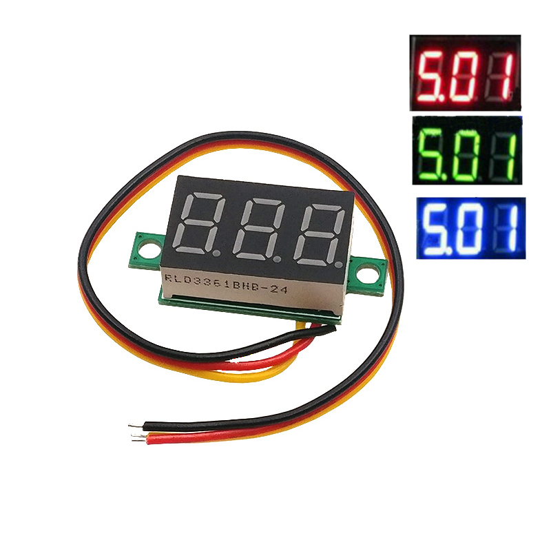 1pcs <font><b>0.36</b></font> two-wire DC 2.50 to 30V LCD Digital Voltmeter Voltimetro Red/Blue/Green <font><b>LED</b></font> Amp Volt Meter Gauge Voltage Meter image