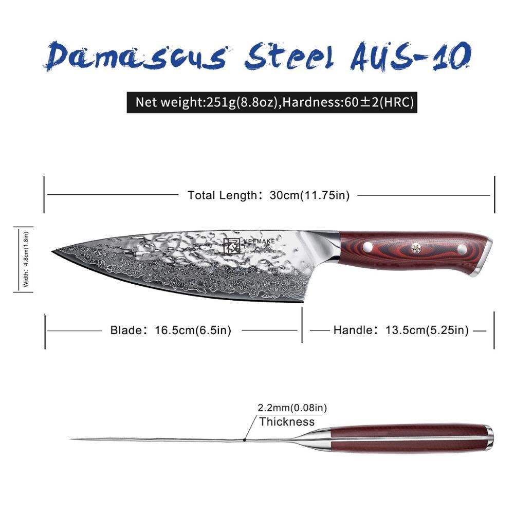 "Sunnecko 6.5 ""Damascus Staal Koksmes Japanse AUS10 Core Hamer Blade G10 Handvat Keuken Chef's Koken Messen Gift sharp Cut-in Keukenmessen van Huis & Tuin op  Groep 3"