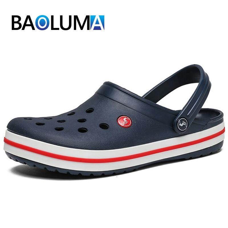 Men's Sandals Summer Slip-on Men Beach Sandals  Clogs Non-slip Men Beach Shoes Crocks Breathable Outdoor Croc Men Sandals
