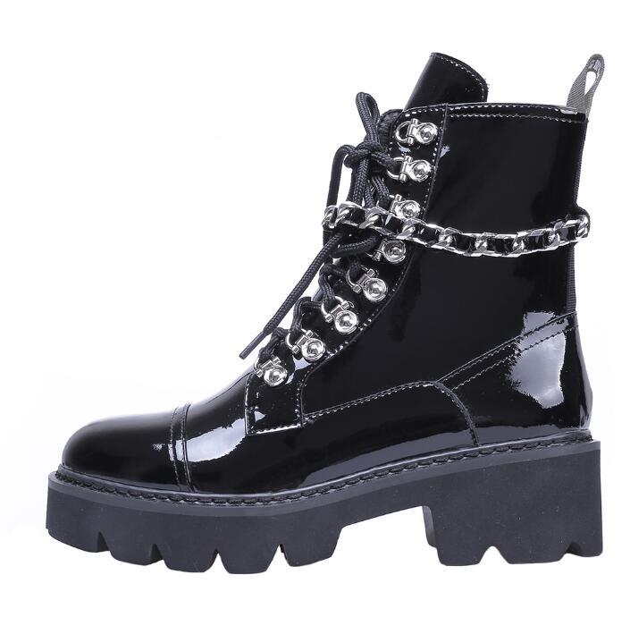 Moraima Snc/сапоги для верховой езды в стиле панк; женские ботильоны из лакированной кожи с круглым носком; мотоциклетные ботинки на шнуровке с у...