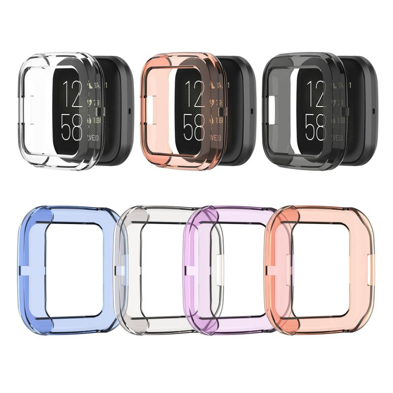 Ultra-thin Soft TPU Protector Case Cover Clear Protective Shell For Fitbit Versa 2 Band Smart Watch Bracelet Screen Protector