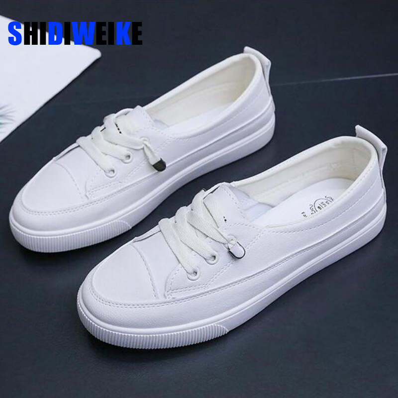 2020 low platform sneakers women shoes female pu leather Walking sneakers Loafers White flat slip on Vacation shoes AB570 1