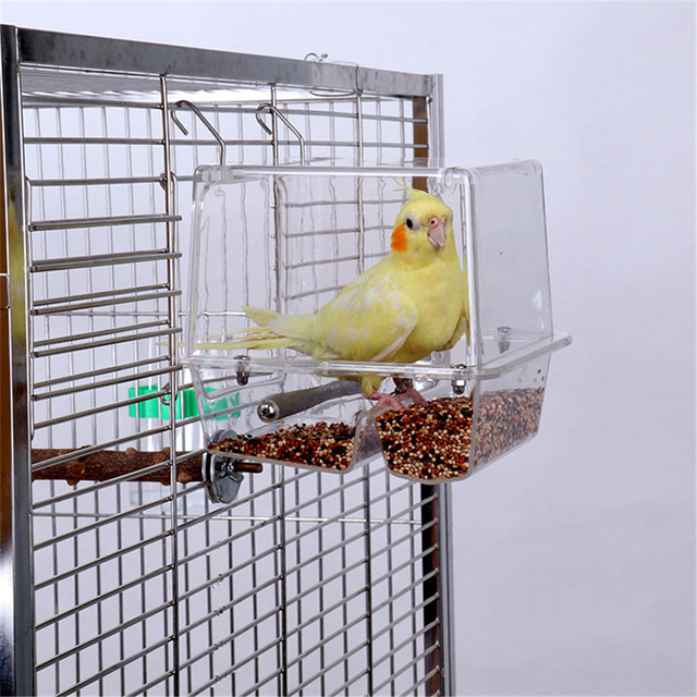 220ml Automatic Bird Food Feeder Hanging Cage Water Drinker Transparent Acrylic Parrot House Feeding Tools for Mannikin Sparrow 3