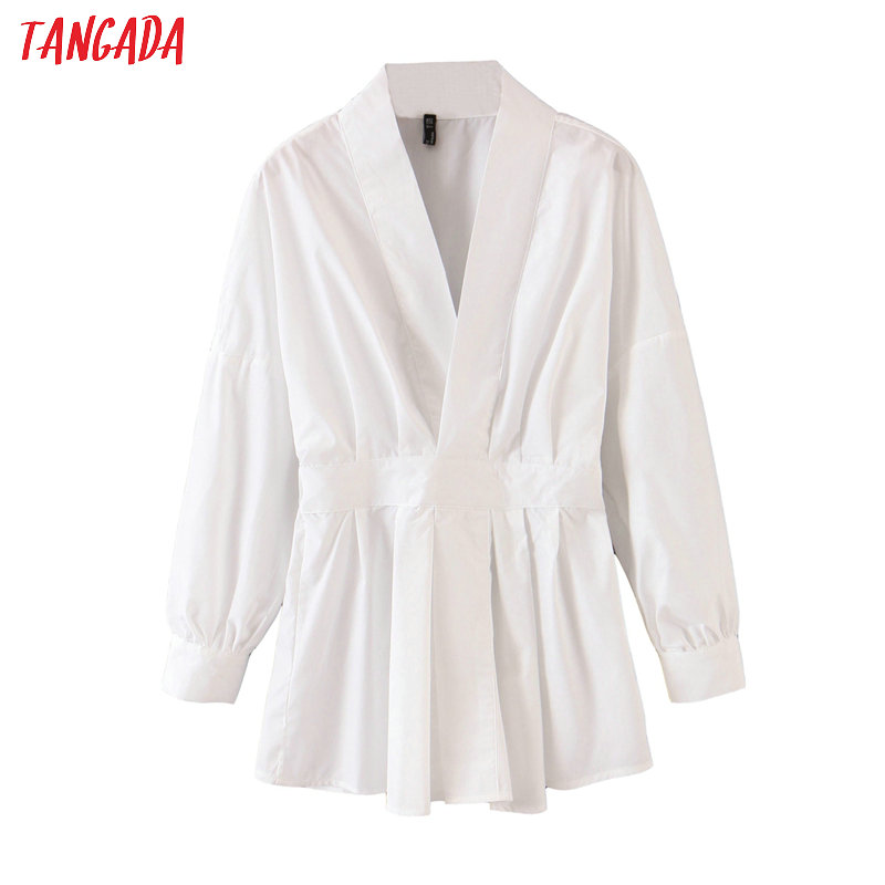 Tangada Women Tunic Strethy Waist White Shirts Long Sleeve Solid Elegant Office Ladies Work Wear Blouses QB87