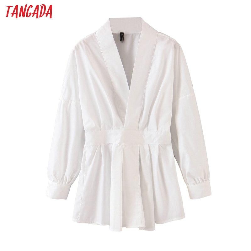 Tangada Women Tunic Strethy Waist White Shirts Long Sleeve Solid Elegant Office Ladies Work Wear Blouses QB87