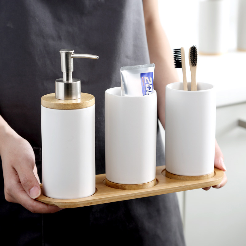 Ceramic Bamboo Bathroom Tumblers Teeth Brushing Cup Bathroom Emulsion Container Kitchen Tableware Dishwashing Liquid Container