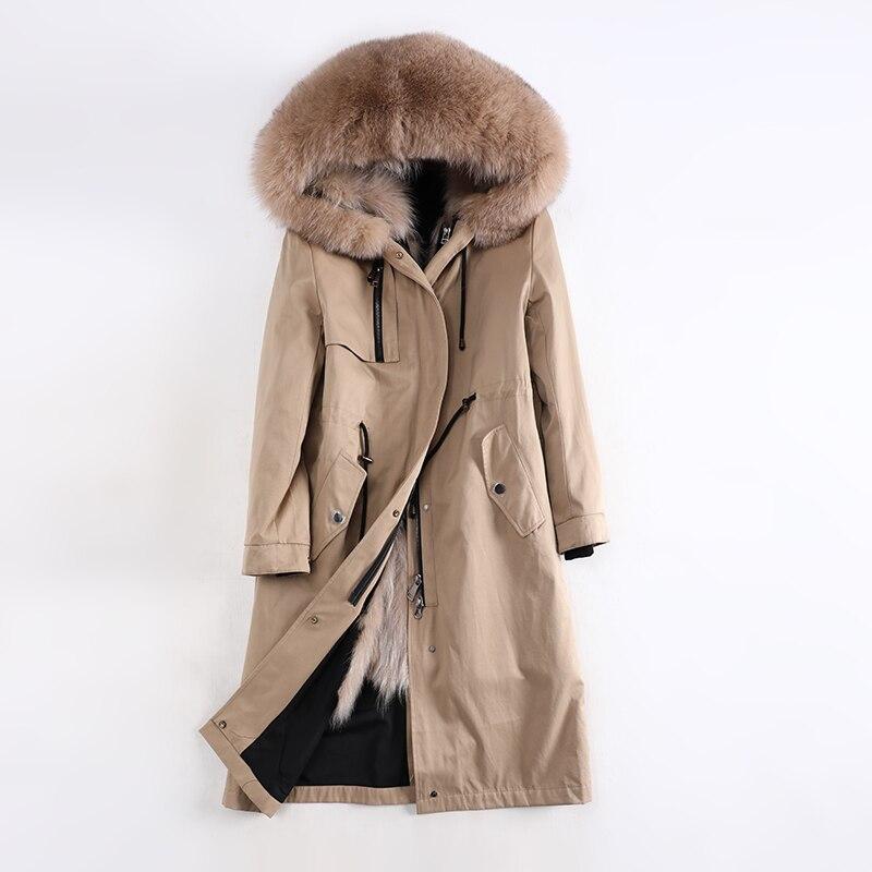 Womens Real Raccoon Fur Collar Hooded Coats Fox Fur Lined  Jackets Parkas Winter