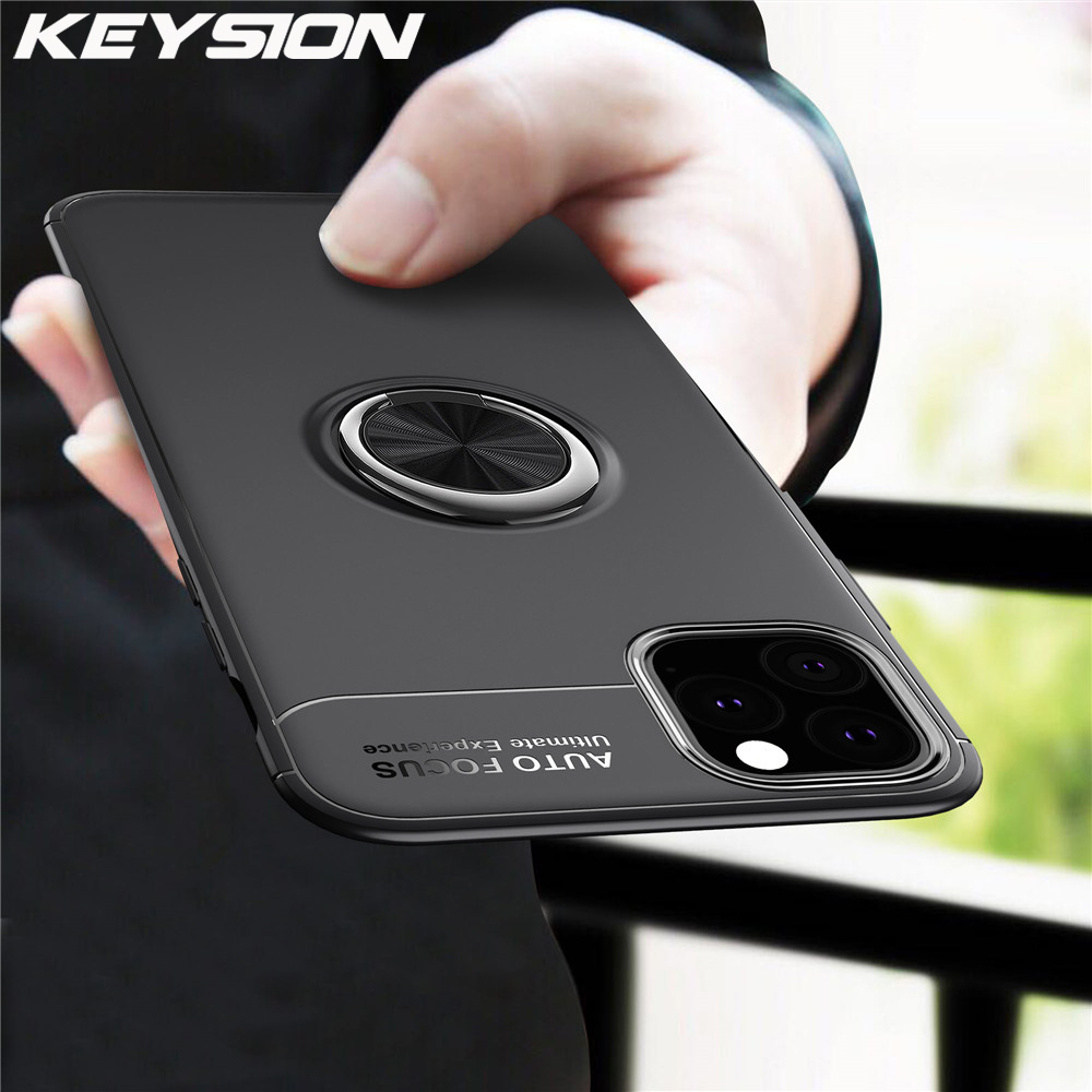 Galleria fotografica KEYSION Ring Holder Phone Case For iPhone 11 11 Pro 11 Pro Max Magnetic Car Stand Silicone Matte Cover For iPhone 2019 New i11
