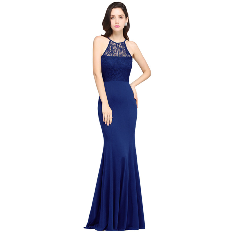 In Stock Robe De Soiree Elegant Royal Blue Mermaid   Evening     Dress   Long Sexy Halter Formal   Evening   Party Gowns