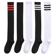 Sexy Medias Black White Striped Long Socks Women Over Knee Thigh High Over The Knee Stockings Warm Knee Socks Dropshopping
