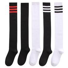 Sexy Medias Black White Striped Long Socks Women Over Knee Thigh High Over The Knee Stockings Warm Knee Socks Dropshopping