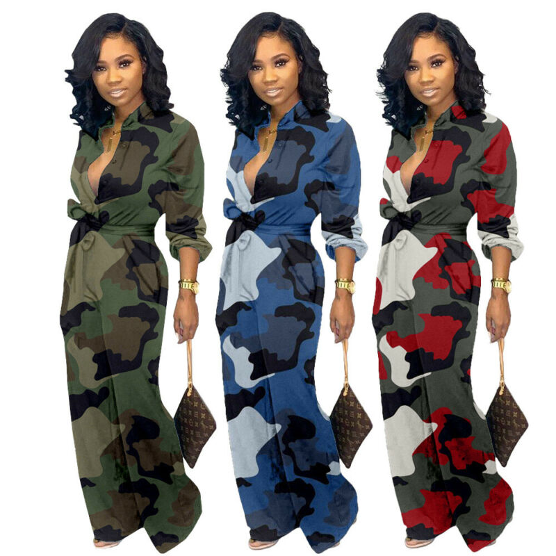 New Women Sexy Long Deep V Neck Long Sleeve Button Tie Camo Jumpsuit Rompers Party Suits Clubwear Plus Size
