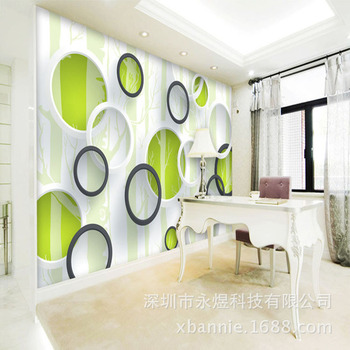 3D Seamless Mural TV Backdrop Living Room Non-Self-Adhesive Non-woven Wallpaper Abstract Tree Circle Mural