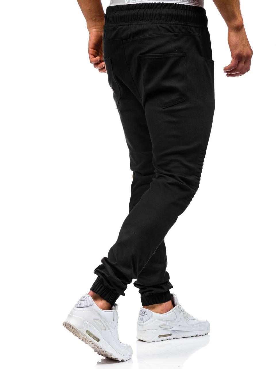 Men Sweatpants Casual Pants Slim fit Drawstring Sweatpants Slacks Elastic Waist Patchwork Pleated Ultrathin Male Trousers Jogger 16