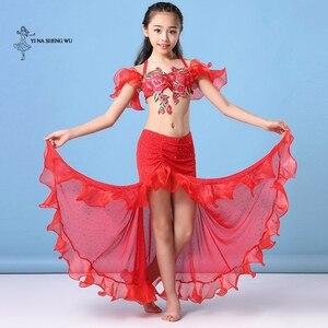 Image 3 - Dziewczyny brzuch kostium taneczny najnowszy 2 sztuk/zestaw biustonosz + spódnica odzież Bellydance dzieci orientalny spektakl taneczny taniec dla dziecka