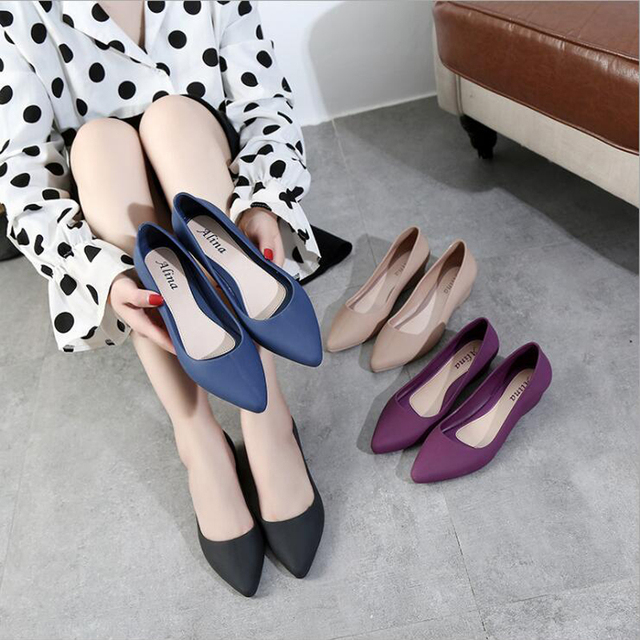 Women's work shoes 2019 autumn new pointed sandals solid color wedge shoes casual comfortable home platform Full rubber shoes