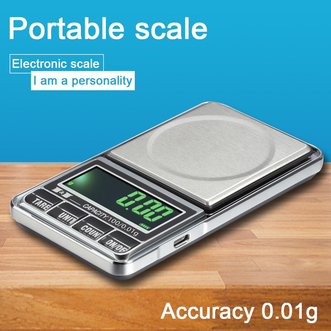 0,01 г мини весы для драгоценных камней, выполненные из зарядка через USB карманные электронные кухонные весы для готовки с золото ювелирные эл...