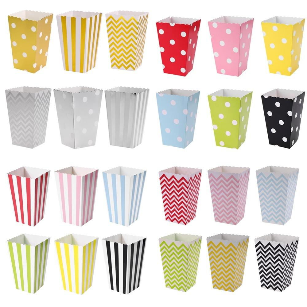 12pcs Dot Wave Striped Paper Popcorn Boxes Candy Box Pop Corn Bag For Christmas Wedding Party Birthday Decoration Supplies