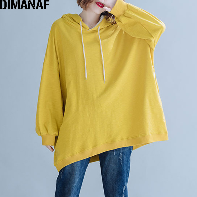 DIMANAF Plus Size Women Hoodies Sweatshirts Autumn Winter Long Sleeve Big Size Loose Cotton Solid Female Tops Shirts Hooded 2019