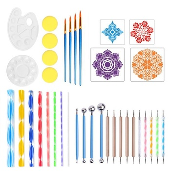 цена на 36-piece mandala tool stone painting auxiliary tool DIY graffiti painting combination set art drawing painting
