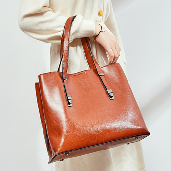 Fashion handbag leather Cowhide luxury brand designer shoulder bag large capacity solid color ladies handbag ladies shoulder bag