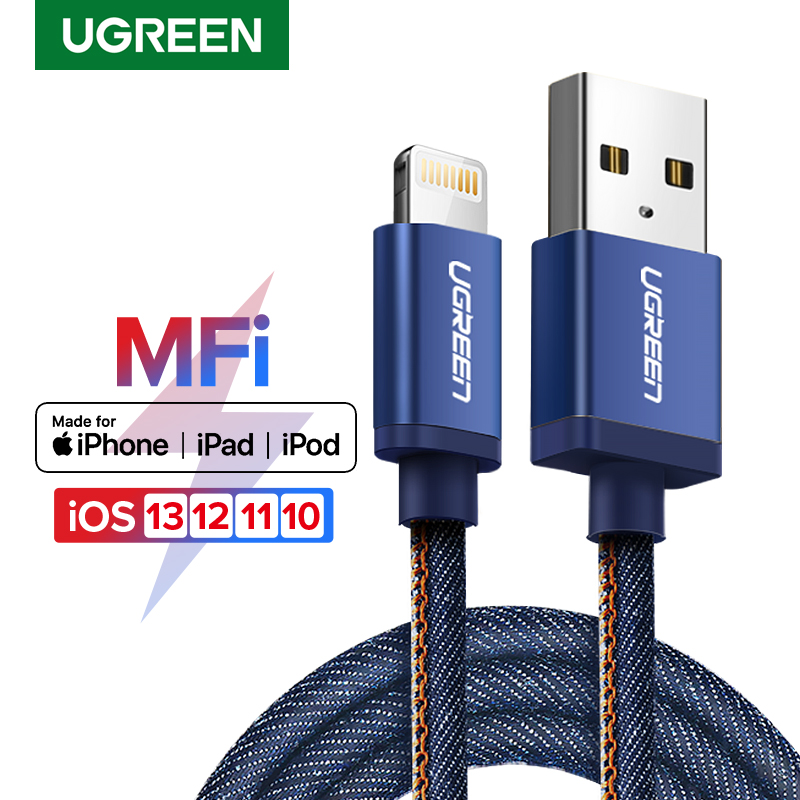 Ugreen MFi Lightning USB-kabel för iPhone 11 X XS Max 2.4A snabbladdning datakabel för iPhone 8 7 6 6s Plus mobiltelefonkabel