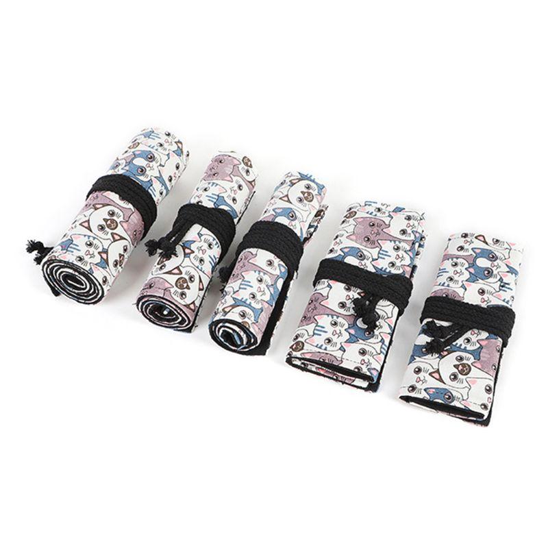 Cute Cat 12/24/36/48/72 Hole Canvas Roll Pen Curtain Pencil Bag Case Makeup Wrap