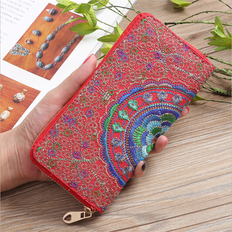 LKEEP Vintage National Wind Oxford Embroidery Flowers Wallet Female Lady Wallet Women Luxury Brand Long Zipper Handbag Carteira