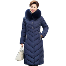 Women Outwear Coat 5XL Down-Jacket Hooded Long Parka Warm Thicken Winter Plus-Size Middle-Aged