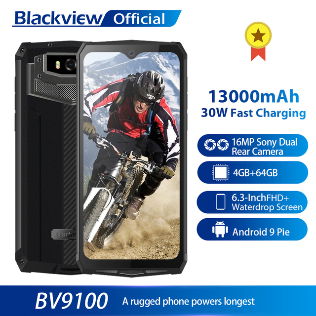 $ US $210.59 Blackview BV9100 IP68 Waterproof Cellphone 13000mAH 30W fast charging 4G Mobile Phone MTK6765 4GB+64GB 16.0MP Rugged Smartphone