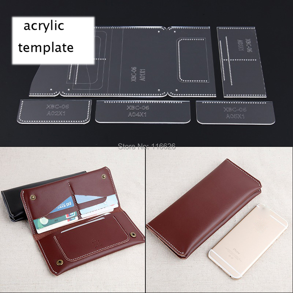 DIY leather craft wallet card holder snap buttom bag acrylic template stencil pattern 9x20x1.5cm