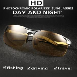 Image 3 - HD نظارات للقيادة ماركة اللونية الاستقطاب النظارات الشمسية الرجال الألومنيوم الرياضة حملق الاتجاه Chamelen oculos دي سول masculino UV400
