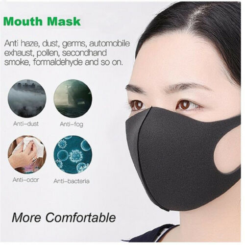 1/5pcs Fashion Mouth Mask,Unisex PM2.5 Pollen Anti Dust Mask Anti Pollution Mask Elastic Earloop Face Mouth Mask Ice Reusable
