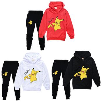 Anime Pokemon Kid Pikachu odzież jesienno-zimowa chłopcy dziewczęta ubrania kostium z długim rękawem odzież dziecięca dresy bluzy odzież zestawy tanie i dobre opinie TAKARA TOMY CN (pochodzenie) Zwierzę rysunkowe litera COTTON Wielkie wydarzenie przyjęcie urodzinowe Powrót do szkoły
