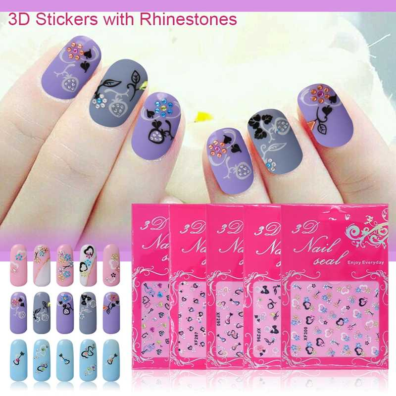 3D Diamond Nail Sticker Decals Bling Glitter Design Adhesive Manicure Nail Art Decorations Mixed Colorful Diamonds Nail Decal