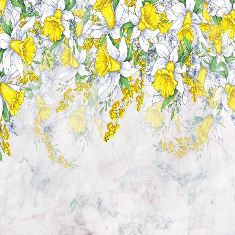 Фото обои 3D Романтическая Акварельная ручная роспись желтые цветы фрески гостиная спальня дом в скандинавском стиле Декор наклейки на стену водонепроницаемый плакат