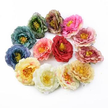 10CM estampa Europea peonía flores falsas para broche de álbum de recortes gorra accesorios de decoración del hogar flores artificiales al por mayor