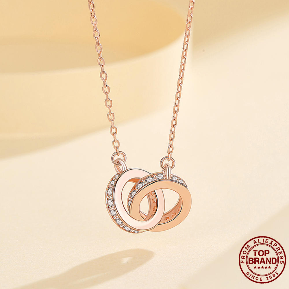 ZEMIOR 925 Sterling Silver Necklace Double Loops Necklaces For Women High Quality Collarbone Chains My Heart Is With You 2021