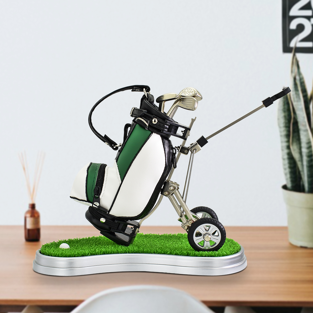 Golf Gift Leather Golf Pens Holder With Oval Lawn Base Unique Birthday Christmas Gift For Golfer Coworker Dad Desk Decoration