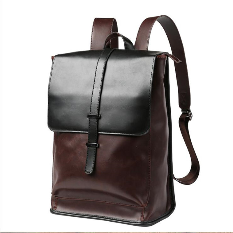 Image 2 - Vintage Laptop Crazy Horse PU Leather Backpacks for School Bags 
