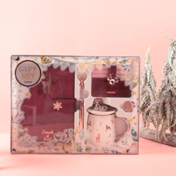 Never 2020 Año Nuevo, conjunto de regalos de Navidad, papelería, cuadernos, bolígrafo de gel, taza de metal, portatarjetas, bolsa para niñas, suministros de regalos de Navidad de alce