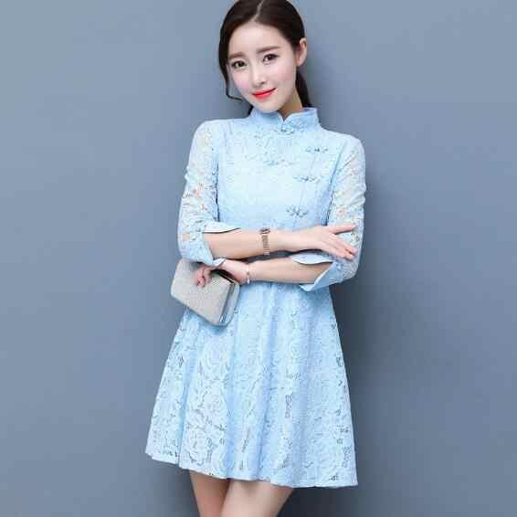 2018 Mới Đen Truyền Thống Trung Quốc Đầm Mujer Đầm Vestido Nữ Satin Qipao Sườn Xám Thêu Hoa Qipao AH157