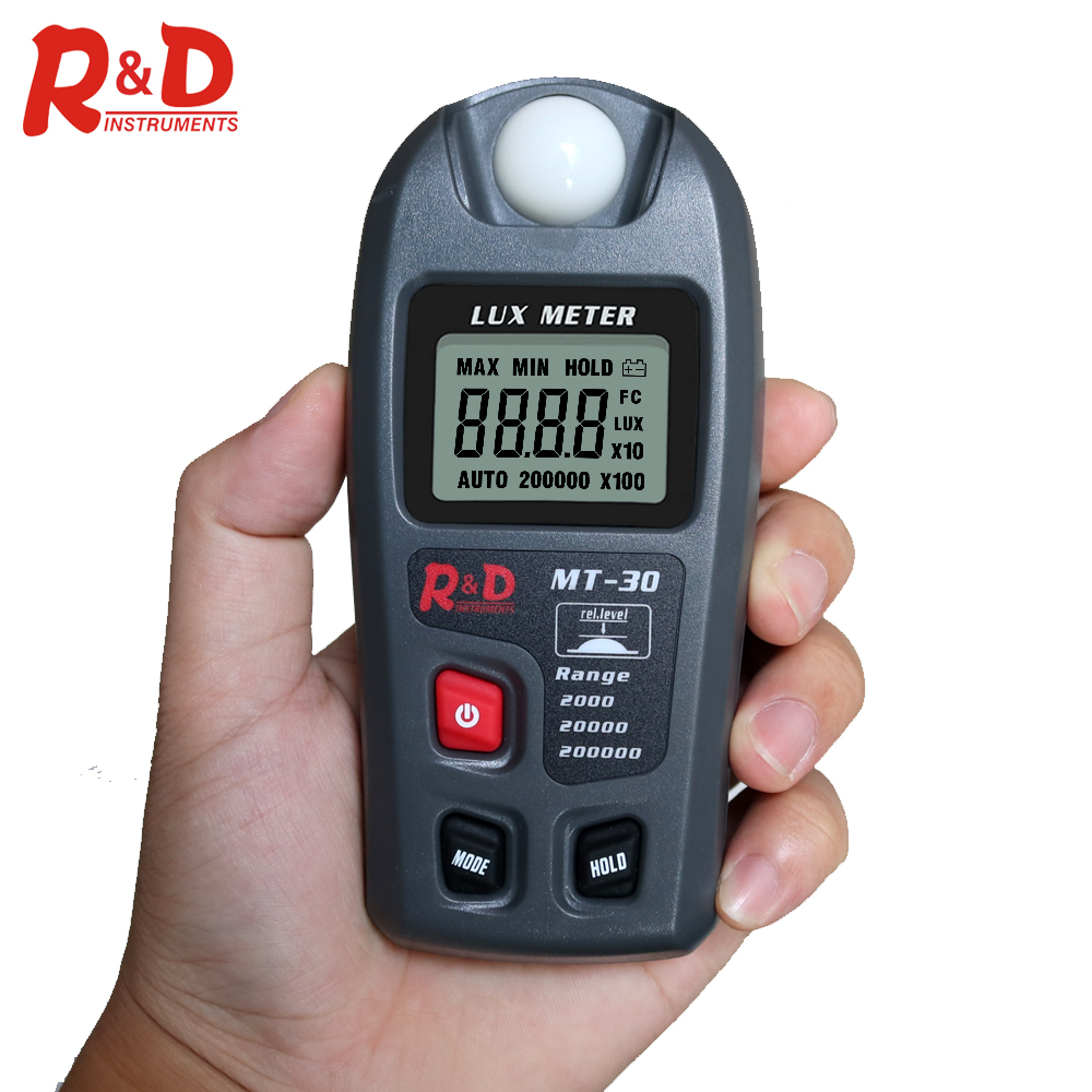 R&D MT30 Grey Illuminometer Lux/fc Photometer Tester Enviromental Testing Lux Meter 0~200,000lux Range Light Meter Pocket Design