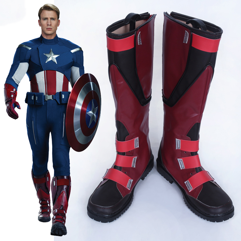 CostumeBuy Avengers Captain America Cosplay Costume Steve Rogers Shoes Boot Props Halloween Accessory Custom Made