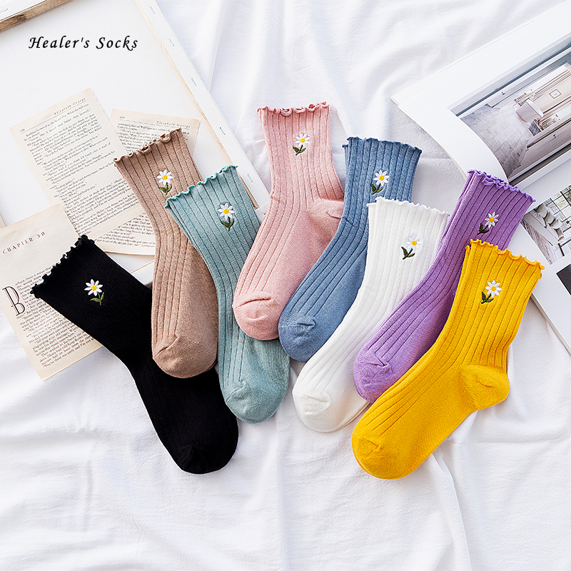 2020 Hot Funny Women Socks Cotton Solid Color Flowers Daisy Cute Kawaii Fashion Art Gift Casual Harajuku Girls Happy Tube Socks