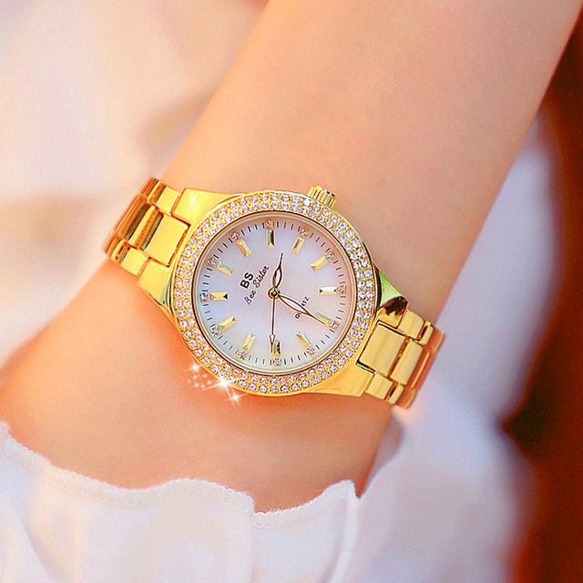 2019 Luxury Brand lady Crystal Watch Women Dress Watch Fashion Rose Gold Quartz Watches Female Stainless Steel Wristwatches 1