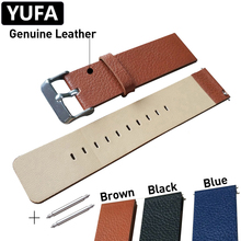 YUFA Genuine Leather Watchband For Women Men Stainless Steel Pin Buckle Clasp Watch Strap 22mm Brown Black Blue Belt Band